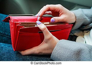 soldi, moderno, borsellino, femmina porge, presa, rosso, donne