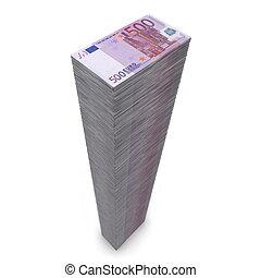 soldi, note, -, mucchio, grande, 500, euro
