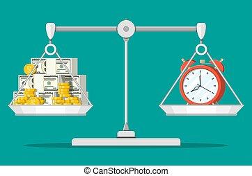 soldi, orologio, equilibrio, scale