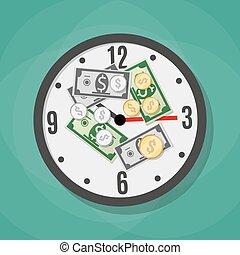 soldi, orologio ufficio
