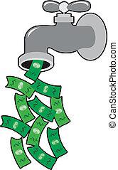 soldi, rubinetto