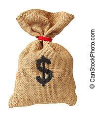 soldi, sacchetto bianco