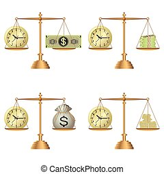 soldi, scale, orologio