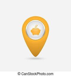 soldi, segno giallo, vettore, piggy, icona, banca, posizione