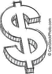 soldi, segno, scarabocchiare