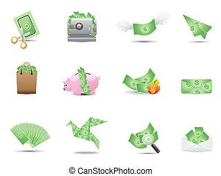 soldi, set, icone