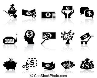 soldi, set, nero, icone