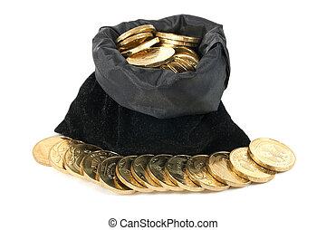 soldi, sopra, monete, borsa, fondo, bianco