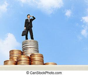 soldi, stare in piedi, uomo affari