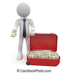 soldi, uomo affari, lotto