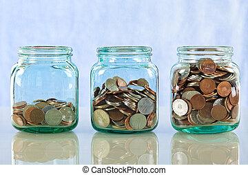soldi, vasi, vecchio, risparmio
