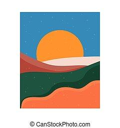 sole, astratto, colorito, paesaggio, scena, tramonto