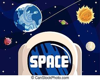 sole, astronauta, casco, solare, luna, sistema, spazio, asteroide, pianeta