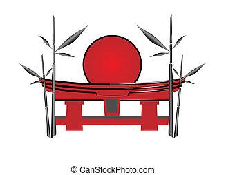 sole, bambù, giapponese, cancello