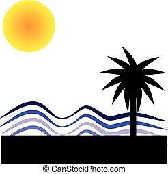 sole, bianco, palma, fondo