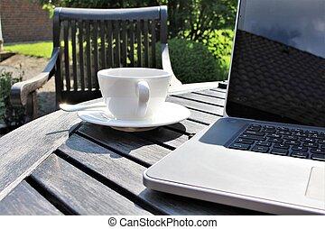 sole, caffè, laptop, immagine
