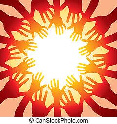 sole, caldo, intorno, mani