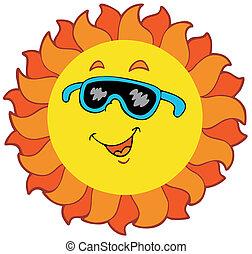 sole, cartone animato, felice