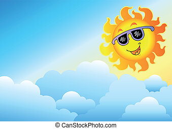 sole, cielo, cartone animato, nuvoloso