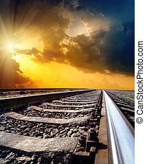 sole, cielo, drammatico, orizzonte, sotto, ferrovia