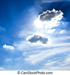 sole, cielo drammatico, rays.