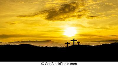 sole, crosses., cristiano, tre, salita