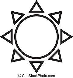 sole, illustrazione, fondo., vettore, linea, bianco, icona