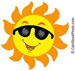 sole, occhiali da sole, cartone animato