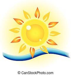 sole, occhio, mare, illustrazione