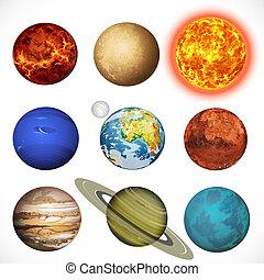 sole, pianeti, sistema, sfondo bianco, vettore, isolato, illustrazione, solare