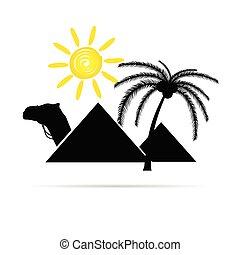 sole, piramide, illustrazione, cammello