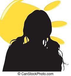 sole, ragazza, silhouette, illustrazione