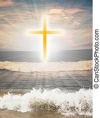 sole, religioso, splendere, croce, contro, simbolo, cristiano