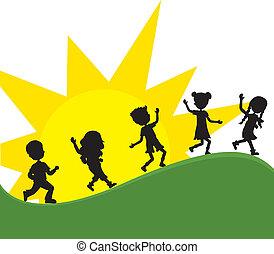 sole, silhoeuttes, bambini, fondo