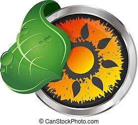 sole, simbolo, foglia, verde