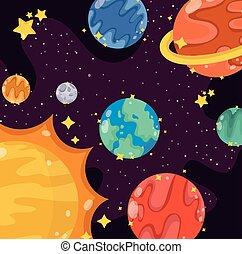 sole, sistema, pianeti, solare, cartone animato, spazio, luna, galassia, stelle