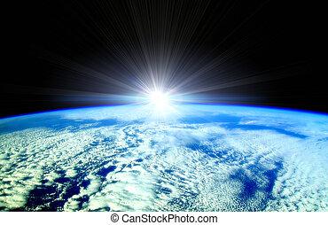 sole, sopra, raggi, orizzonte, terra