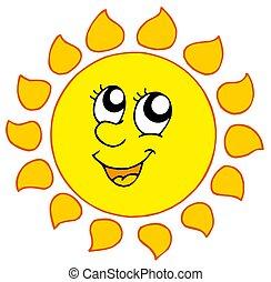 sole, sorridente, cartone animato