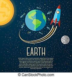 sole, spazio, luna, rocket., vettore, stelle, terra, bandiera