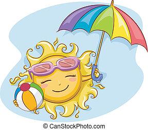 sole, spiaggia, gioco