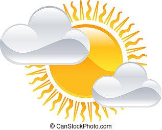 sole, tempo, nubi, clipart, icona