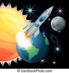 sole, terra, razzo, luna