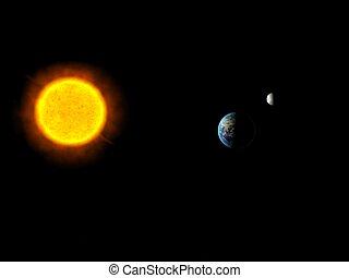 sole, terra, sistema, sole, luna