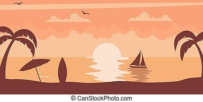 sole, tramonto, estate, fondo, spiaggia