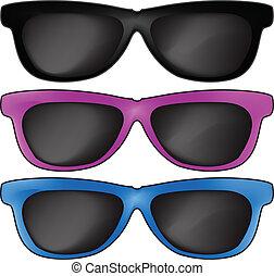 sole, vettore, occhiali