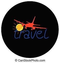 sole, viaggiare, aeroplano, illustrazione, segno