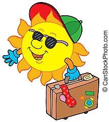sole, viaggiatore, cartone animato