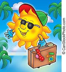 sole, viaggiatore, palme