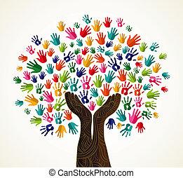solidarietà, colorito, albero, disegno