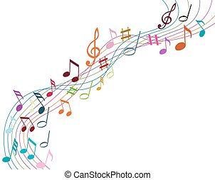 solide, colorare, note, musica, fondo, bianco